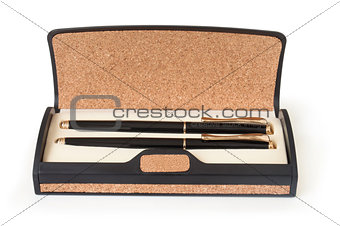 Fountain and ballpoint pen in a box of balsa wood isolated on white background