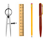 Accessories for school and office work. On a white background.