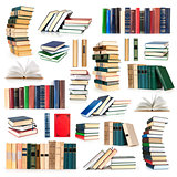 collection stack of books  isolated on white