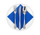 Plate with Napkin, Knife and Fork Isolated on White Background.