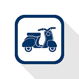 square blue icon retro no name scooter