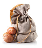 Harvest potatoes in sack