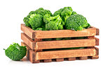 Cabbage broccoli in wooden box