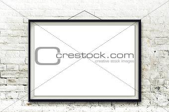 Blank horizontal painting in black frame