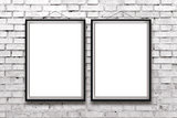 Two blank vertical paintings or posters in black frame