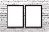 Two blank vertical paintings or posters in black frame