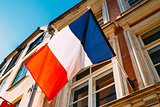 French Tricolours Flag Decorate A Local Government Building In P