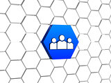 people sign in blue hexagon