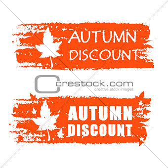 autumn discount drawn banner with fall leaf