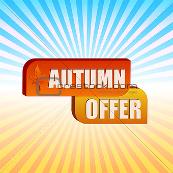 autumn offer and fall leaf over rays