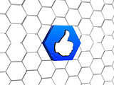 thumb up sign in blue hexagon