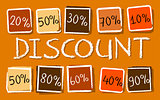 autumn discount and percentages in squares - retro orange label
