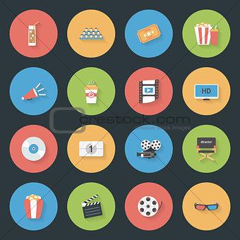 Cinema flat icons set