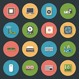 Computer peripherals and parts flat icons set
