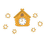 vector illustration of vintage wooden cuckoo clock on a white background