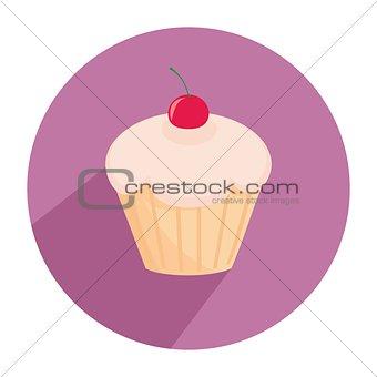 Flat cherry cupcake vector sign