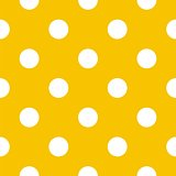 Seamless vector pattern with big white polka dots on a sunny yellow background.