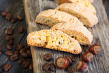 Biscotti and coffee beans.