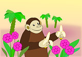 Funny Monkey with Bananas.