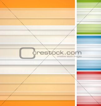 Abstract striped backgrounds set