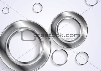 Abstract circles silver background