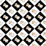 Design diamond children background with cartoon sheep