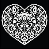 Polish white folk art heart pattern on black - wzory lowickie, wycinanka