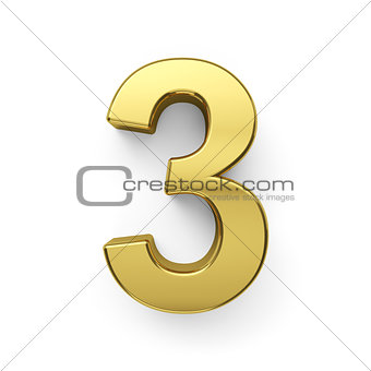 3d render of golden digit three simbol - 3
