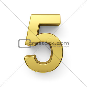 3d render of golden digit five simbol - 5