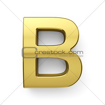 3d render of golden alphabet letter simbol - B