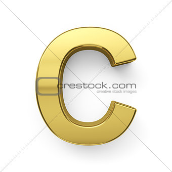3d render of golden alphabet letter simbol - C