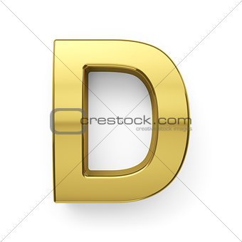 3d render of golden alphabet letter simbol - D