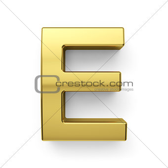 3d render of golden alphabet letter simbol - E
