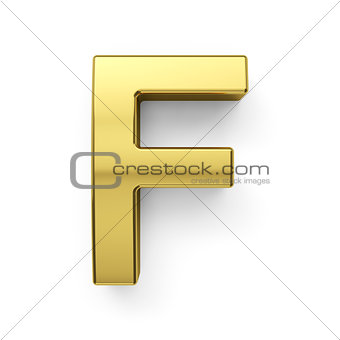 3d render of golden alphabet letter simbol - F