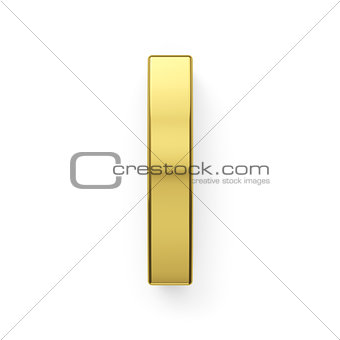 3d render of golden alphabet letter simbol - I