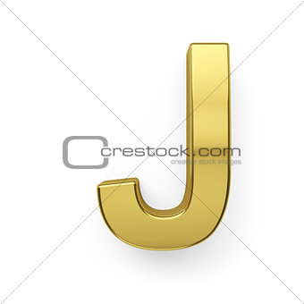 3d render of golden alphabet letter simbol - J