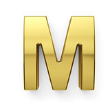 3d render of golden alphabet letter simbol - M