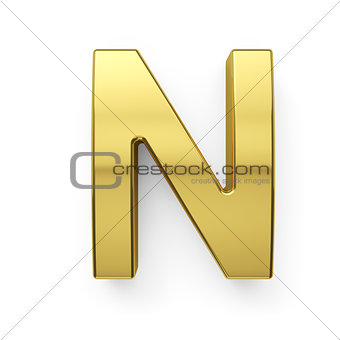 3d render of golden alphabet letter simbol - N