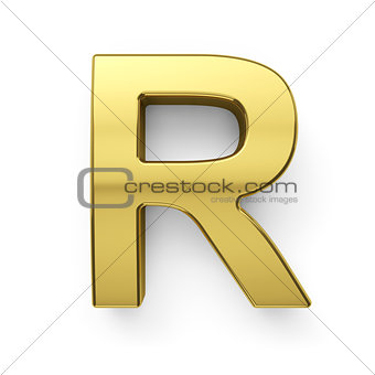 3d render of golden alphabet letter simbol - R