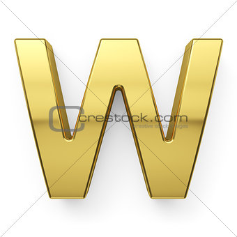 3d render of golden alphabet letter simbol - W