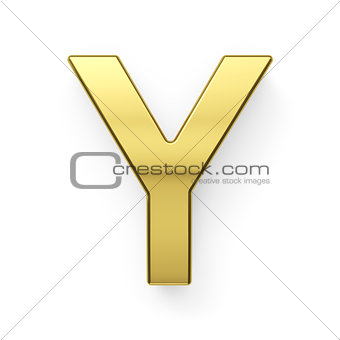 3d render of golden alphabet letter simbol - Y