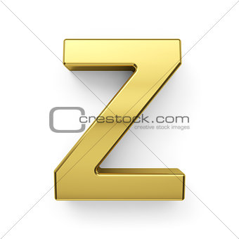 3d render of golden alphabet letter simbol - Z