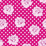 Seamless vector floral pattern with pink roses and white polka dots.