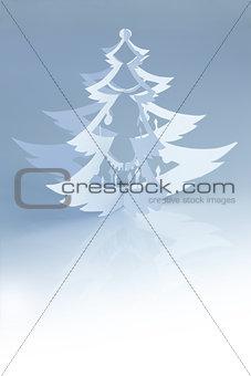 Beautiful white handmade christmas tree silhouette - vertical
