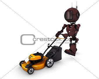 Android with lawn mower