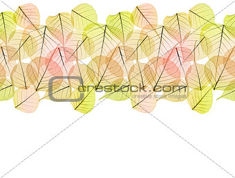 Autumn Dry Golden Leaves - Seamless Border isolated