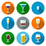 set of flat design alcohol glasses icons