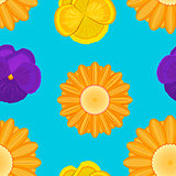 flowers seamless blue pattern