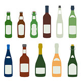 solid colors alcohol bottles icons set