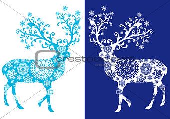 Blue chirstmas deer , vector set